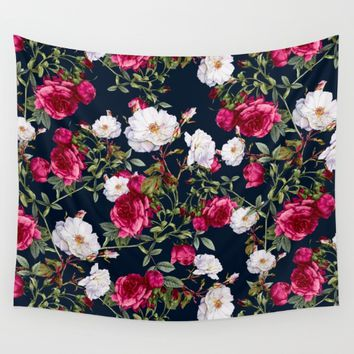 Vintage Roses on Darkblue Wall Tapestry by VS Fashion Studio