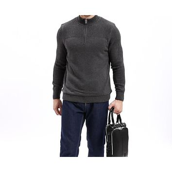 Men Class Sweaters Cotton Sweater Men Pullover Thick Knitted Zipped Half Neck Solid Color Sweater shirt