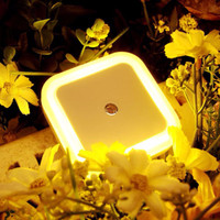 Auto LED Light Induction Sensor Control Bedroom Night Lights Bed Lamp US EU Plug 65*65*28mm 110V-250V,0.5W