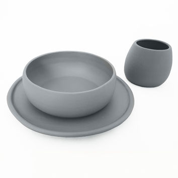 Matte Grey Porcelain USA Made Dinnerware