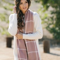 Leah Blush Plaid Scarf