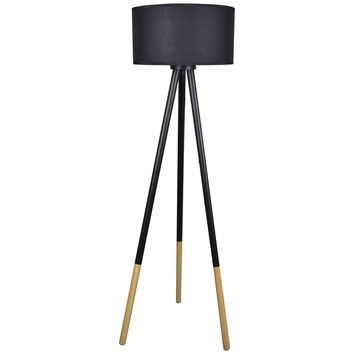 Tripod Floor Lamp with Wood and Metal Base and Linen Shade - Stockholm Floor Lamp
