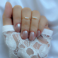 Dainty Real Pearl Ring Chain  Ring .925 Sterling Silver / 14k Gold Filled Chain Midi Ring  Stackable Midi Ring Dainty Minimalist Ring