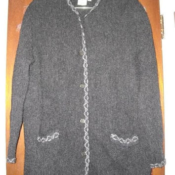 Womens Vintage Denbigh Knitwear Barbara Fielding England Charcoal Gray Sweater Jacket Coat S Small