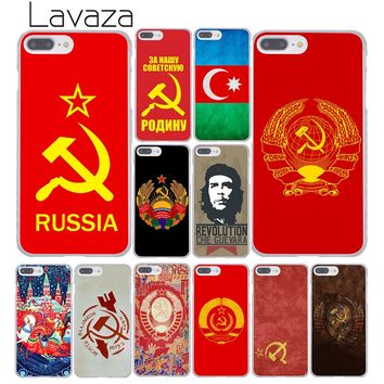 Lavaza Soviet Union USSR Grunge Flag Hard Cover Case for Apple iPhone 8 7 6 6S Plus 5 5S SE 5C 4 4S X 10 Coque Shell