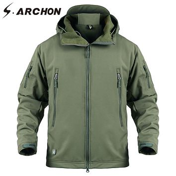 S.ARCHON Soft Shell Military Windbreaker Jacket Men Navy Blue Waterproof Tactical Jacket Coat Male Hoody Windproof Fleece Jacket