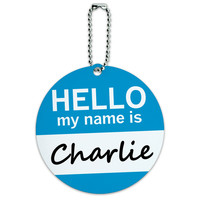 Charlie Hello My Name Is Round ID Card Luggage Tag