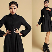 funnel-neck wool coat with Long lantern sleeves  (354)