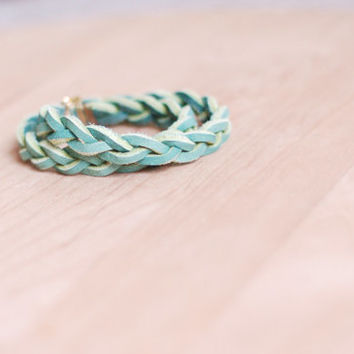 Braided leather wrap bracelet, light sage green, gold or silver, recycled leather