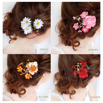 gift set - four seasons flower hair clips, daisy flower hair clip, cherry blossom, autumn hair accessory, red rose hair clip