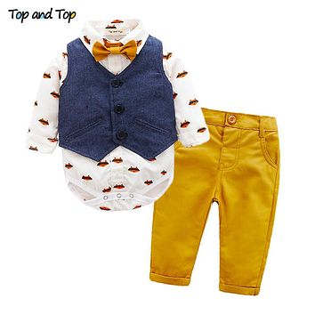 Autumn Baby Boys Gentleman Clothing Sets Bow Tie Long Sleeve Romper Shirt Vest Trousers Casual Toddler Clothes