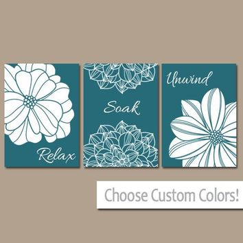 Teal BATHROOM Wall Art, Bathroom Decor, CANVAS or Prints, Bathroom Relax Soak Unwind, Quote Flower Decor, Set of 3, TEAL Home Decor Pictures