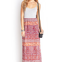 FOREVER 21 Paisley Maxi Cami Dress Heather Grey/Rust