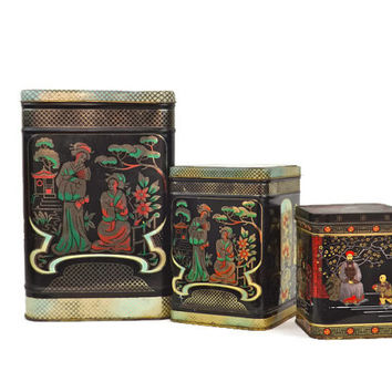 Vintage Tin Canisters Asian Canisters England Canisters