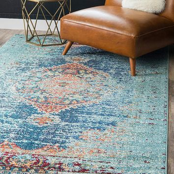 9324 Turquoise Colorful Distressed Oriental Area Rugs