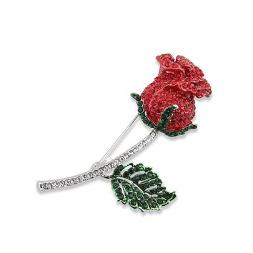 Beautiful Flower Brooch Rhinestone Rose Red Flower Brooches For Women Gold Bijoux Femme Channel Brosch Broche Hijab Pins