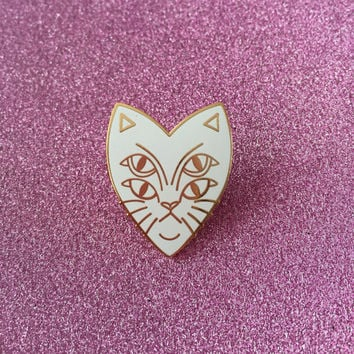 Four Eyes Cat Enamel Pin Badge Lapel Pin - White & Rose Gold Hard Enamel Mutant Cat Tattoo
