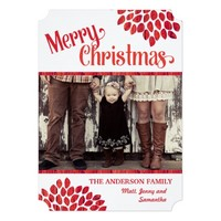 Red Leaves Merry Christmas Family Photo Card