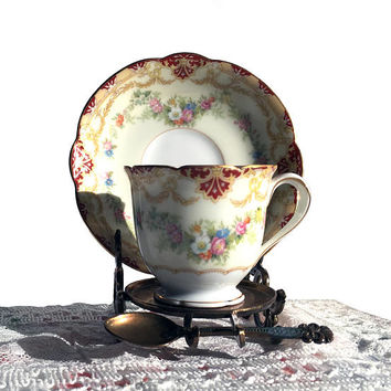 Noritake Ainslee Footed Demitasse Cup and Saucer / Circa 1930s / Vintage Porcelain