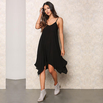 Women's Black Asymmetrical Shark Bite Strappy Sleeveless Summer Midi Dress