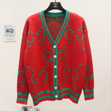 Gucci Autumn Winter Fashion V Collar Single Breasted Letter Print Brief Paragraph Sweater Sweatshirt Knit Cardigan Jacket Coat Red
