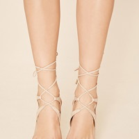 Lace-Up Faux Suede Stilettos