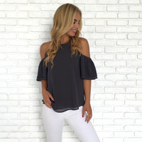 Chic Charcoal Ruffle Blouse