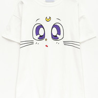 White Cat Print Short Sleeve T-Shirt