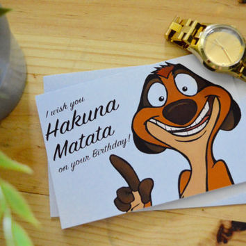 Birthday Card The Lion King Hakuna Matata Timon- Disney Movie, Kids Card