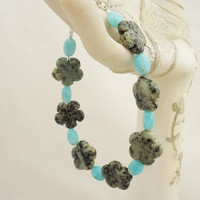 African Turquoise and Larimar Bracelet, Gemstone Bracelet, Flower Bracelet, Blue Bracelet