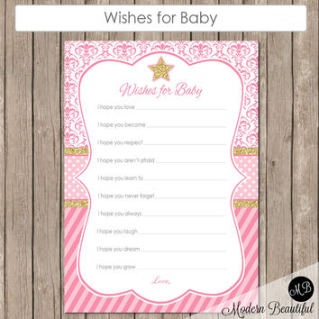 Wishes for Baby Star in Pink Damask and Stripe-  Twinkle Twinkle Little Star Baby Shower - Baby Girl Pink - Baby Well Wishes - pink INSTANT