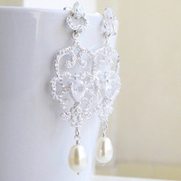 Bridal Earrings CZ Swarovski Ivory Pearl Stud Earrings - Selena E2 Wedding Jewelry Edwardian Charm