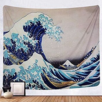 "Martine Mall Tapestry Wall Tapestry Wall Hanging Tapestries The Great Wave off Kanagawa Katsushika Hokusai Thirty-six Views Mount Fuji Tapestry Wall Art (The Great Wave Off Kanagawa, 59.1"" x 59.1"")"
