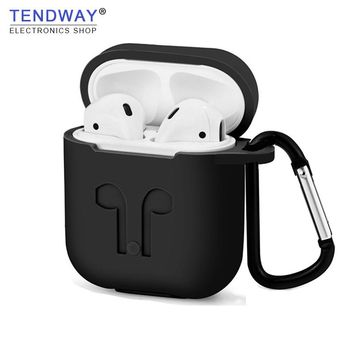 Tendway AirPods Silicone Soft  Cover Protector Shock Proof Case with Dust Plug Anti-lost Strap Pouch For Apple Air Pods