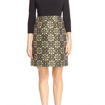 Adrianna Papell Jersey & Metallic Jacquard Sheath Dress