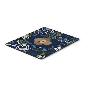 Blue Flowers Chocolate Brown Poodle Mouse Pad, Hot Pad or Trivet