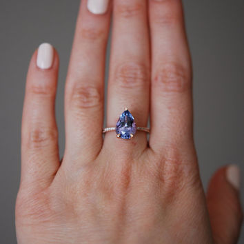 Tanzanite Ring. Rose Gold Engagement Ring Lavender Mint Tanzanite pear cut halo engagement ring 14k rose gold.