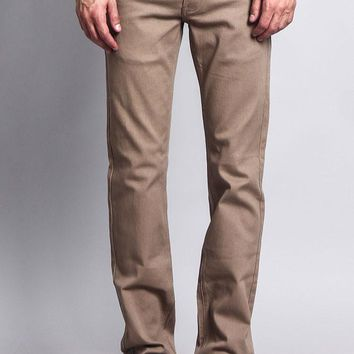 Men's Slim Fit Colored Jeans (Taupe)