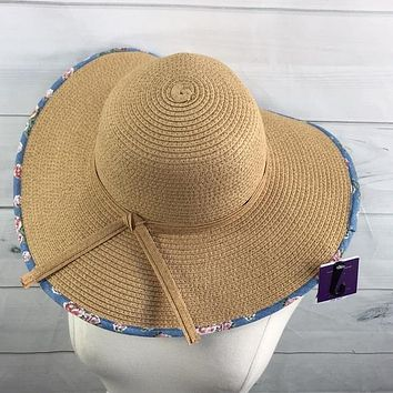 D&Y Womens Brim Hat With Floral Chambray Underbrim, Light Brown