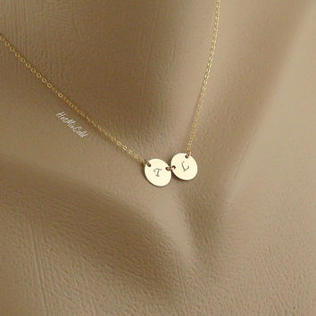 TWO Charm Monogram Necklace - Initial Disc Necklace - GOLD Filled Couple necklace - Mother's Necklace - Twin Necklace Personalized Jewelry