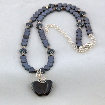 Hematite Hearts and Flowers Handmade Designer Pendant Necklace