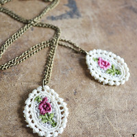 Lace Rose Necklace - Pink Rose - Floral Lace - Lace Jewelry - Spring - Summer