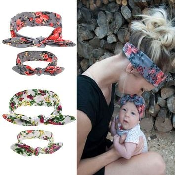 Two Pcs/Set Mom and Me Boho Turban Headband Top Knotted Bunny Ears Elastic Bowknot Matching Headband Baby and Mommy Headwrap Gifts