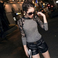 New Fashion 2016 Hot Sale  Lady Popular Lace Long Sleeve shirt Slim Knitwear Leather Crew O-Neck Tops A803