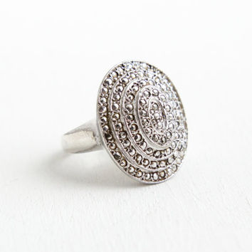Vintage Sterling Silver Marcasite Cluster Shield Ring- Size 6 Retro Mid Century 1960s Statement Cocktail Jewelry
