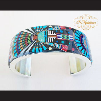 P Middleton Kachina Sun Cuff Bracelet Sterling Silver .925 with Semi-Precious Stones