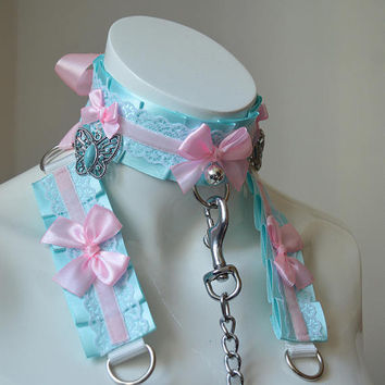 Kitten play collar leash and cuffs - butterfly beauty - bdsm proof kittenplay gear ddlg kink petplay slave girl boy adult sexy pastel choker