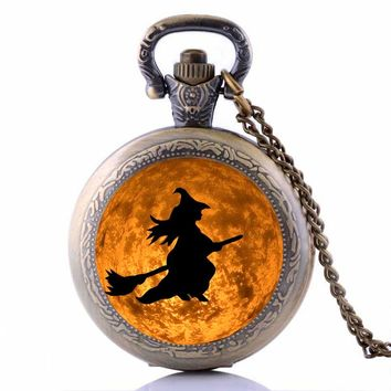 Halloween 2016 Costumes Jewelry Steampunk Witch Moon Pocket Watch Necklace Vintage Accessories