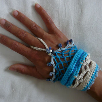 Summer hand cuff Boho Hippie Bracelet crochet with crystals beads