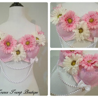 Pink Daisy Rave Bra by TranceTrampBoutique on Etsy